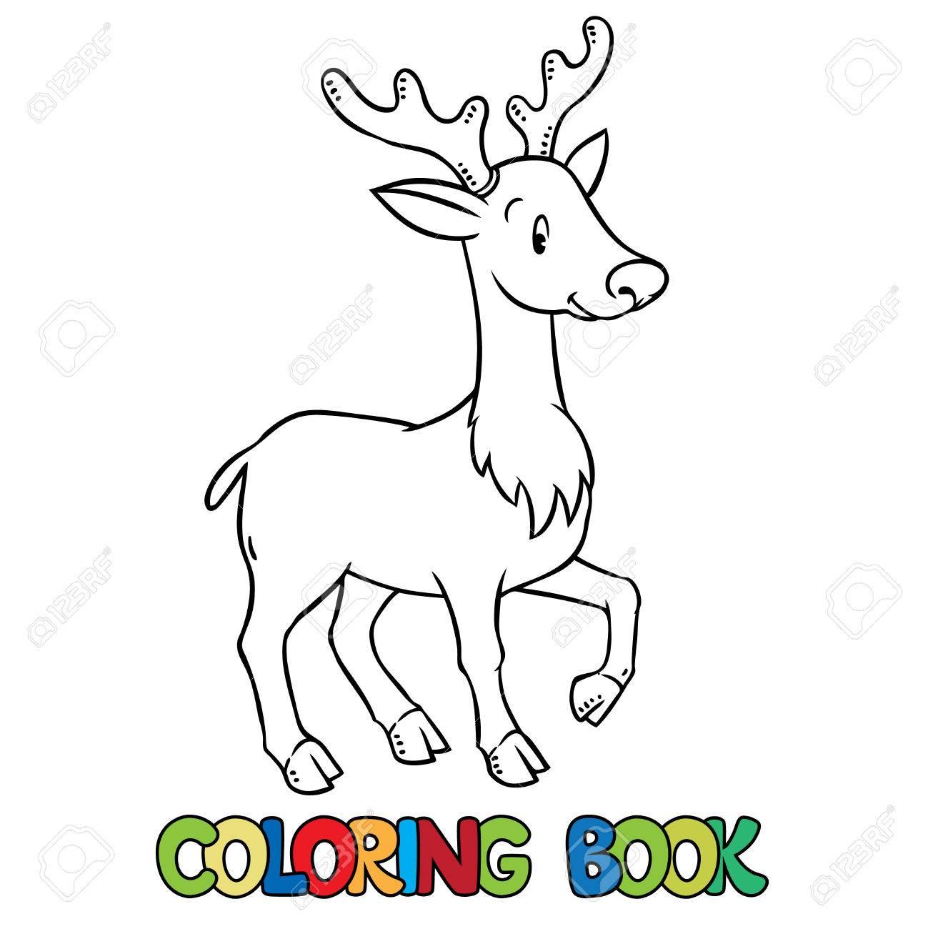 Libro Para Colorear O Dibujo Para Colorear De Ciervos Jóvenes O Leonado Ilustración De Vector De Los Niños