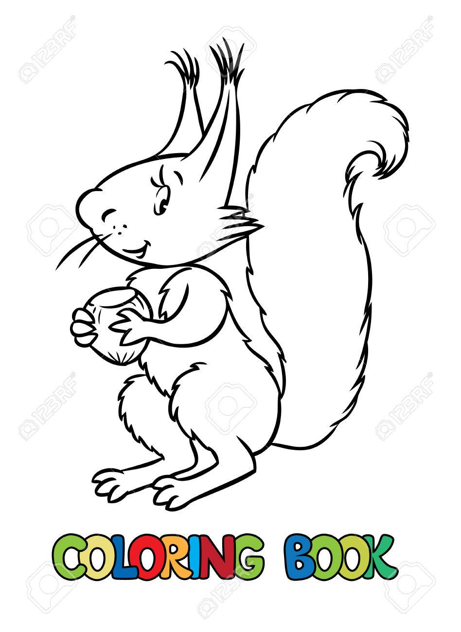 Libro Para Colorear O Dibujo Para Colorear De Ardilla Divertida ...