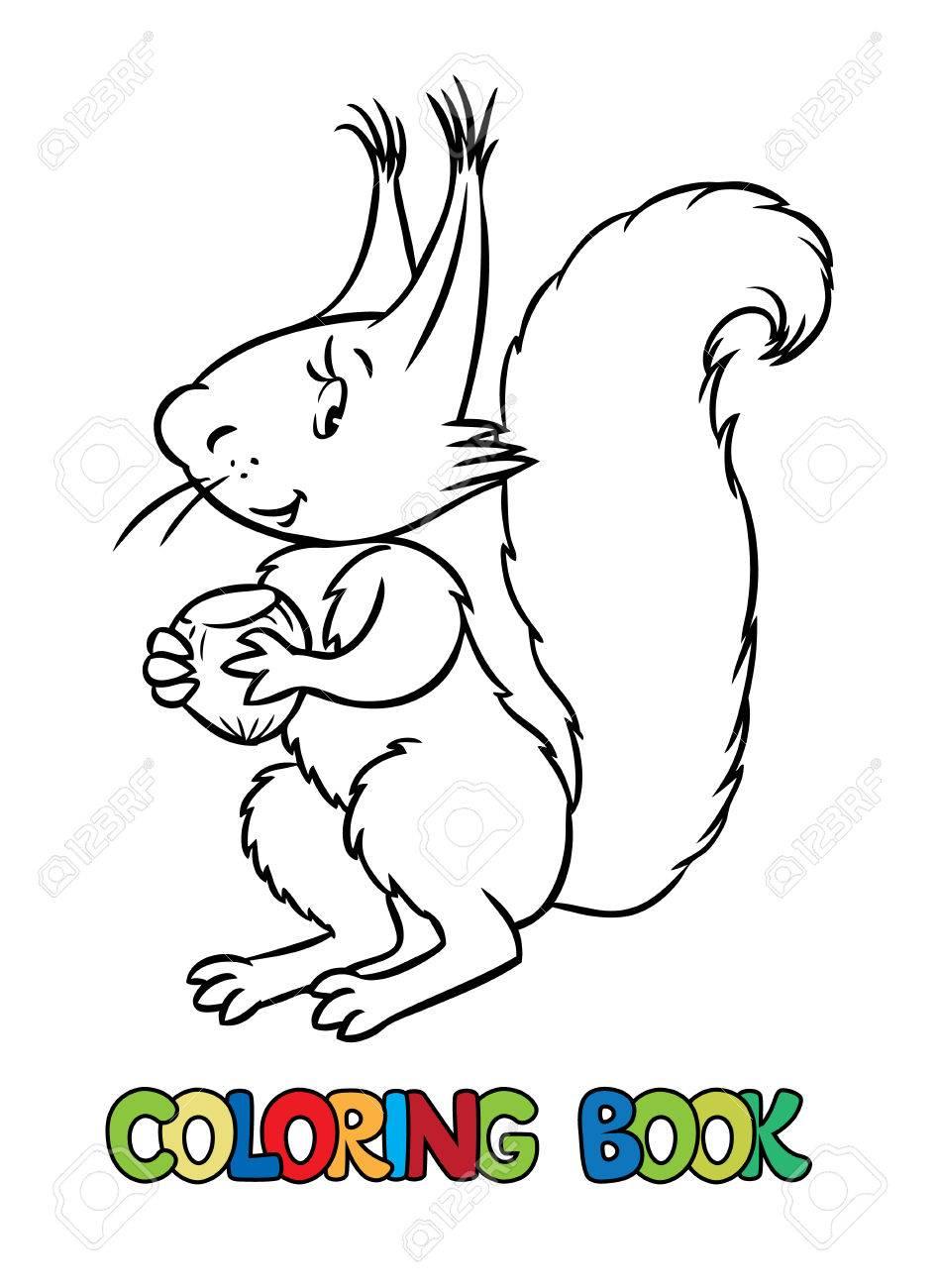 Malbuch Oder Ausmalbild Von Litle Lustiges Eichhörnchen Mit Einer