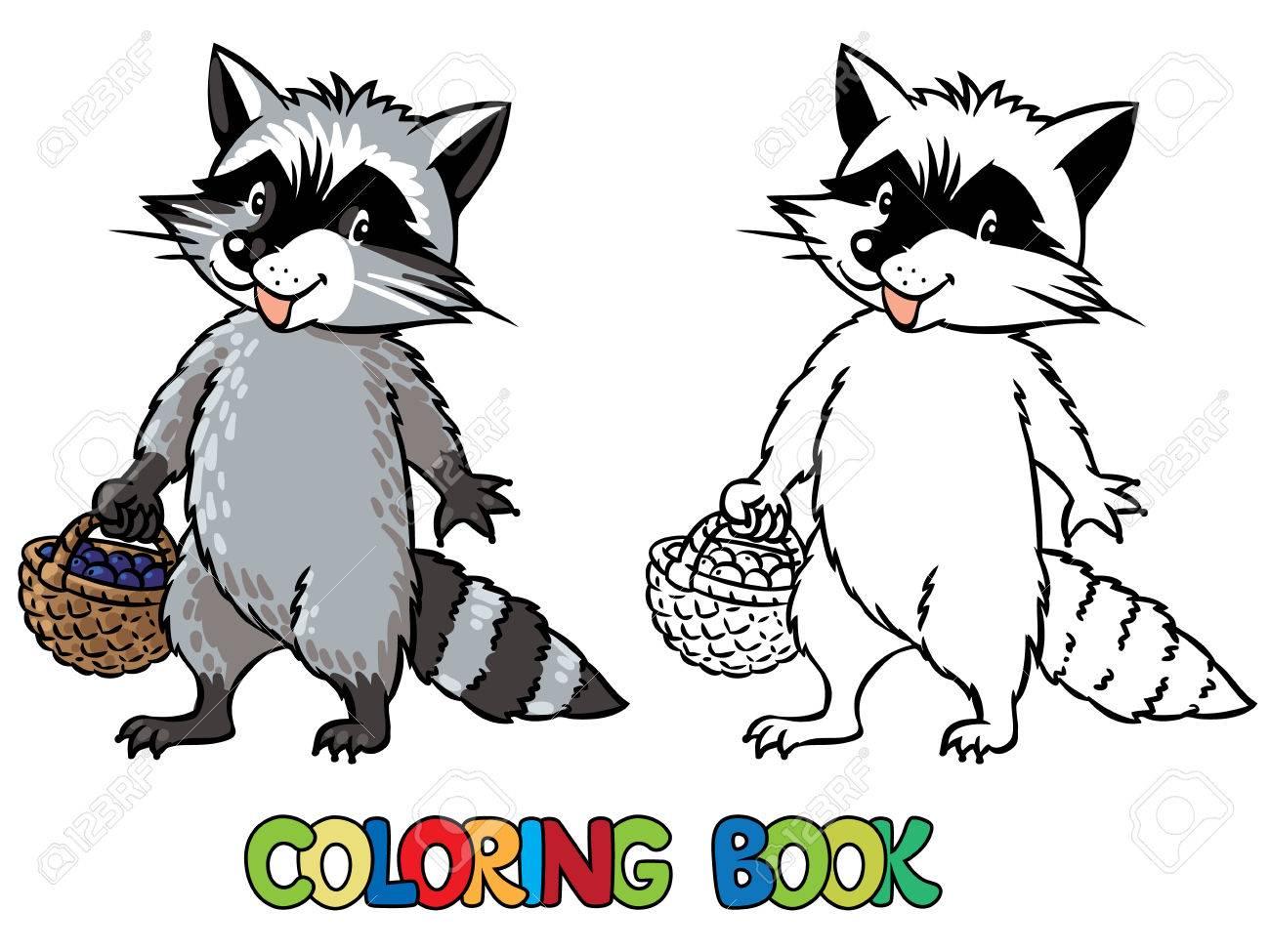 Libro Para Colorear O Dibujo Para Colorear De Mapache Divertido Con