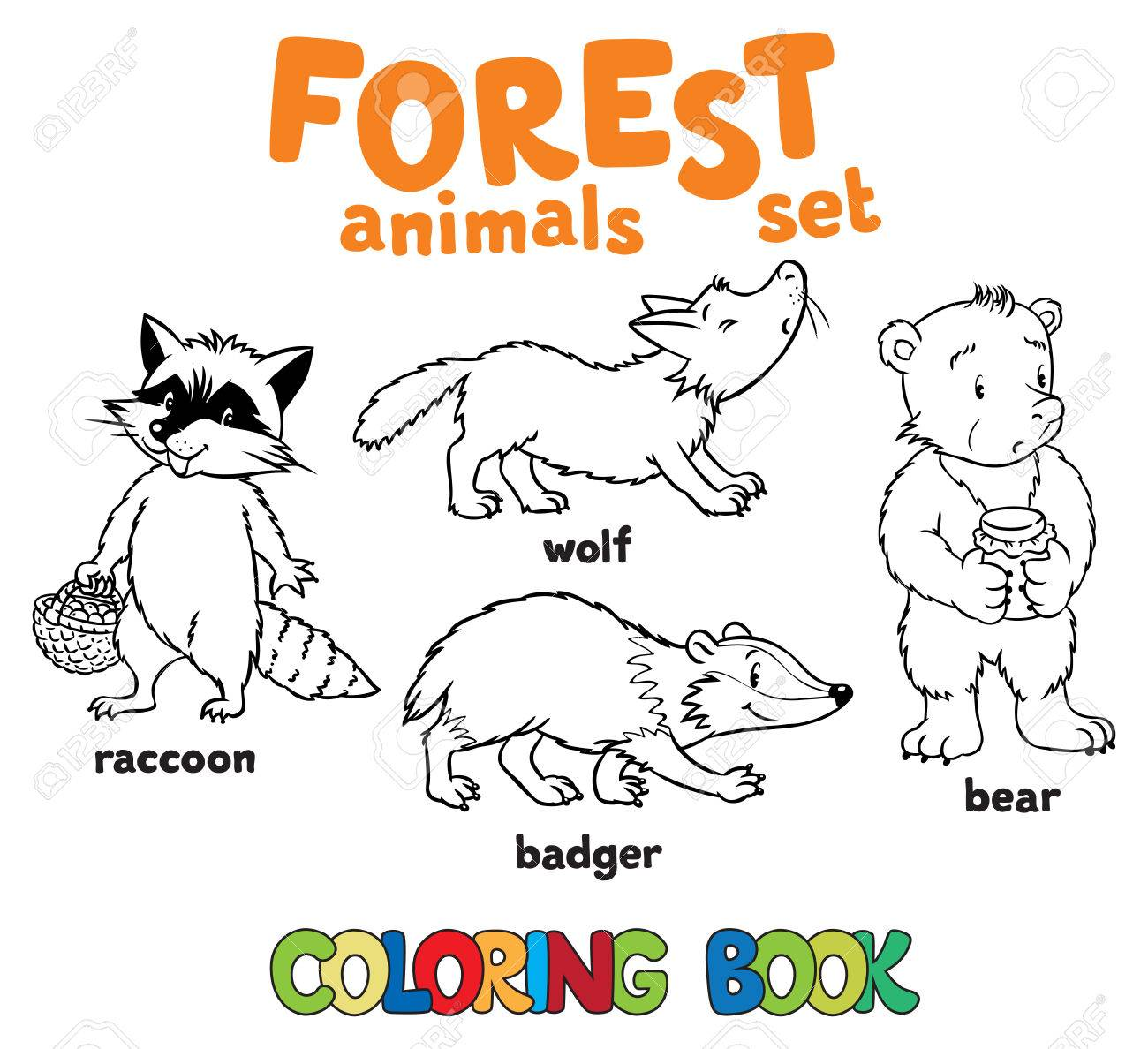 Coloring Book Set Of Funny Racoon, Wolf, Bagger And Bear. Children ...