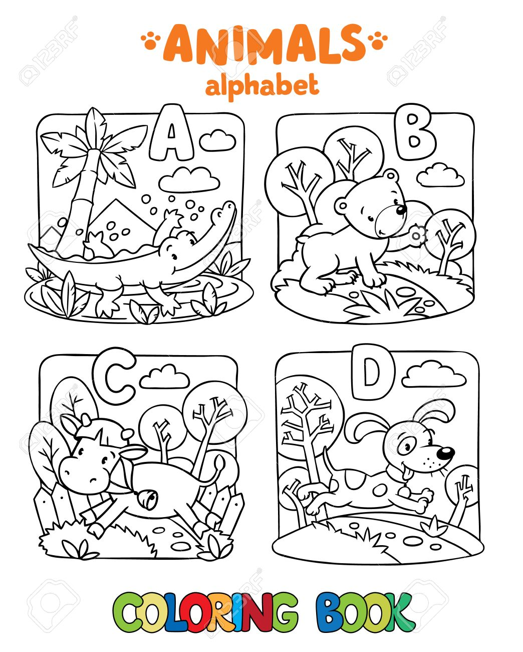Coloring Book Or Coloring Picture Of Funny Alligator Bear Cow