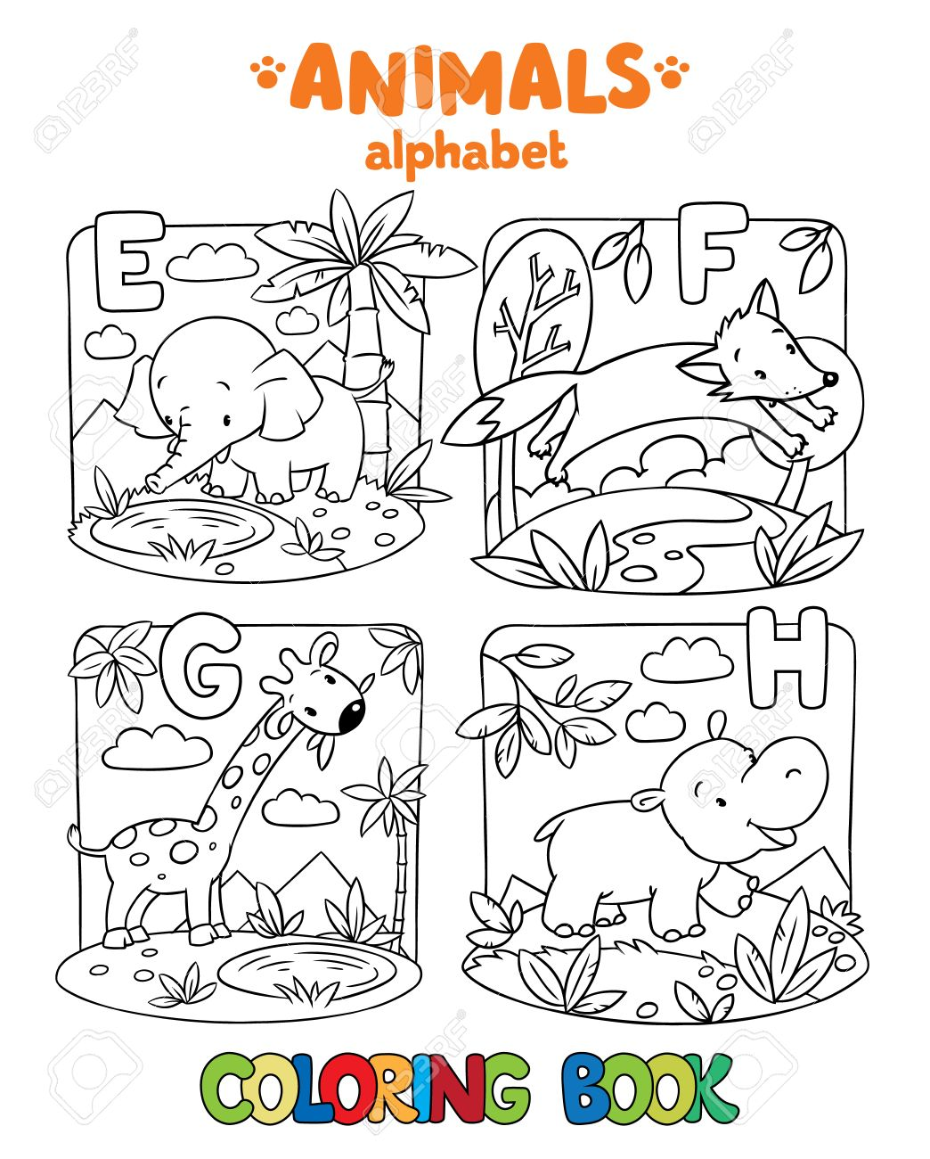 Libro Para Colorear O Dibujo Para Colorear De Elefante Divertido ...