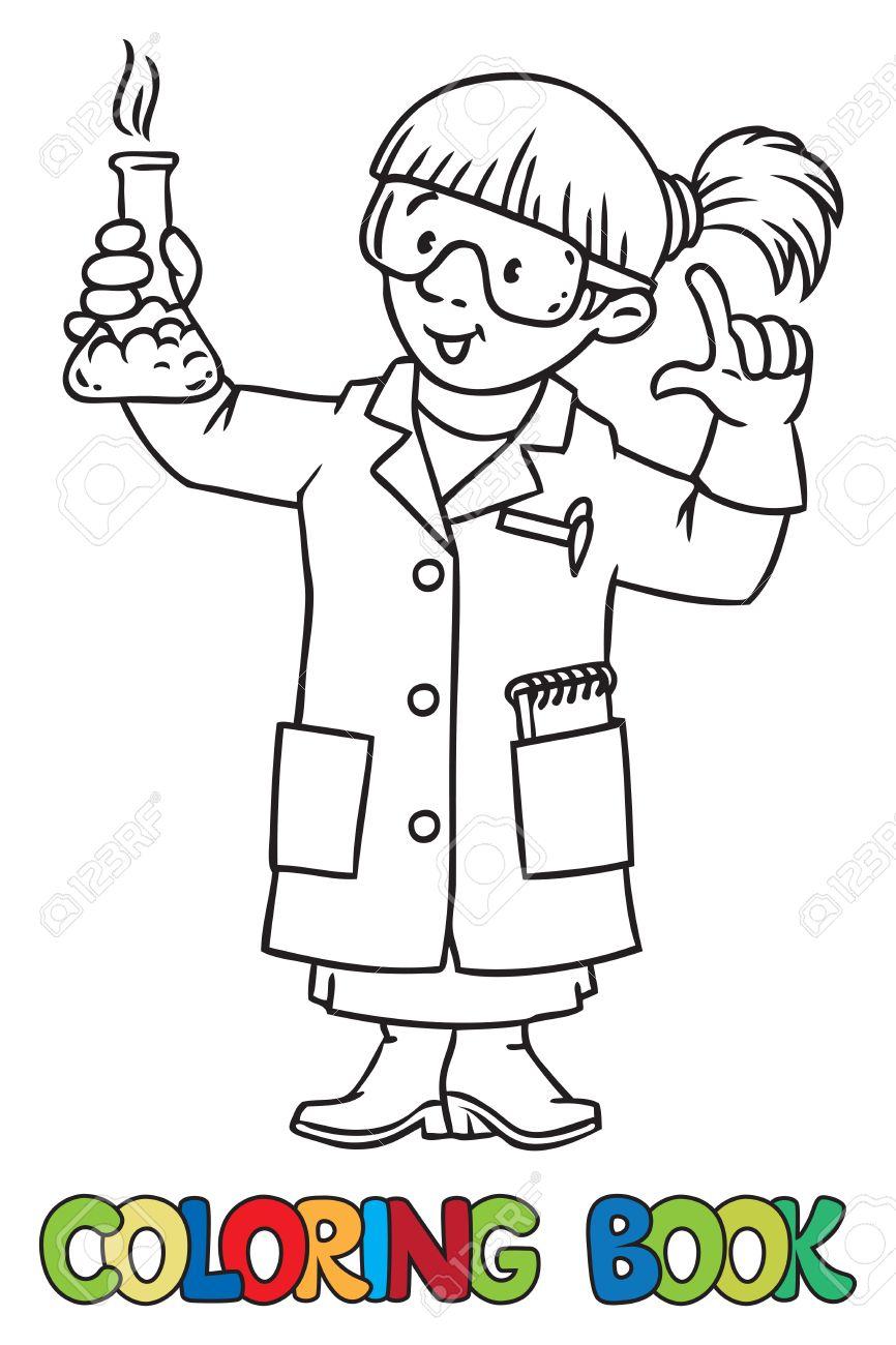 Coloriage ou livre de coloriage de chimiste drôle ou scientifique. Une  femme dans des verres vêtu d'une blouse de laboratoire et des gants avec  cornue ...