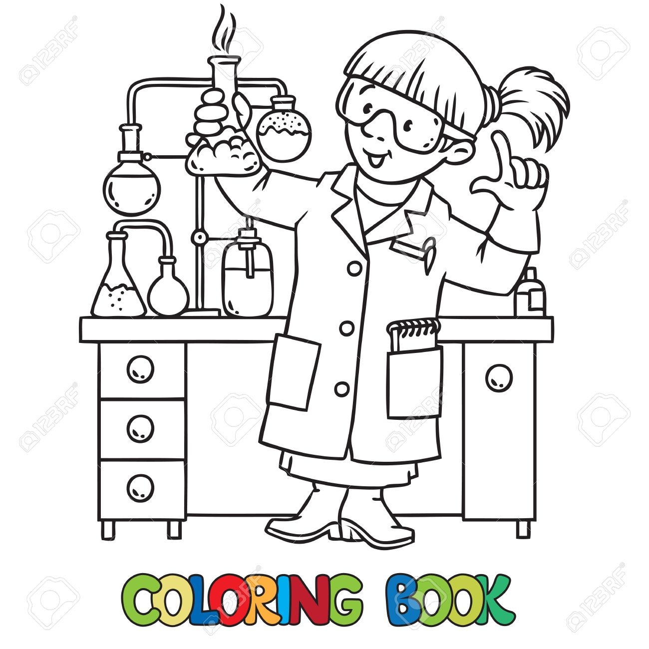 Foto Colorante O Libro De Colorear Del Químico O Científico Divertido Una Mujer De Las Gafas Vestidos Con Una Bata De Laboratorio Y Guantes Con La