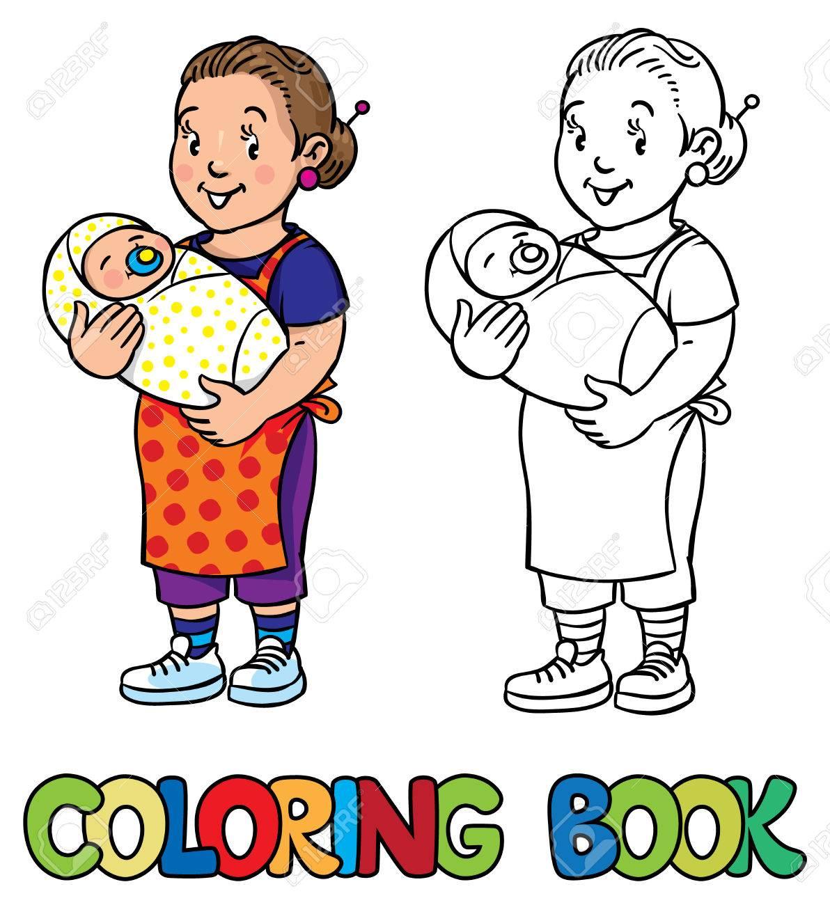 Coloriage livre de nounou souriante dr´le ou m¨re avec un bébé Profession série ABC