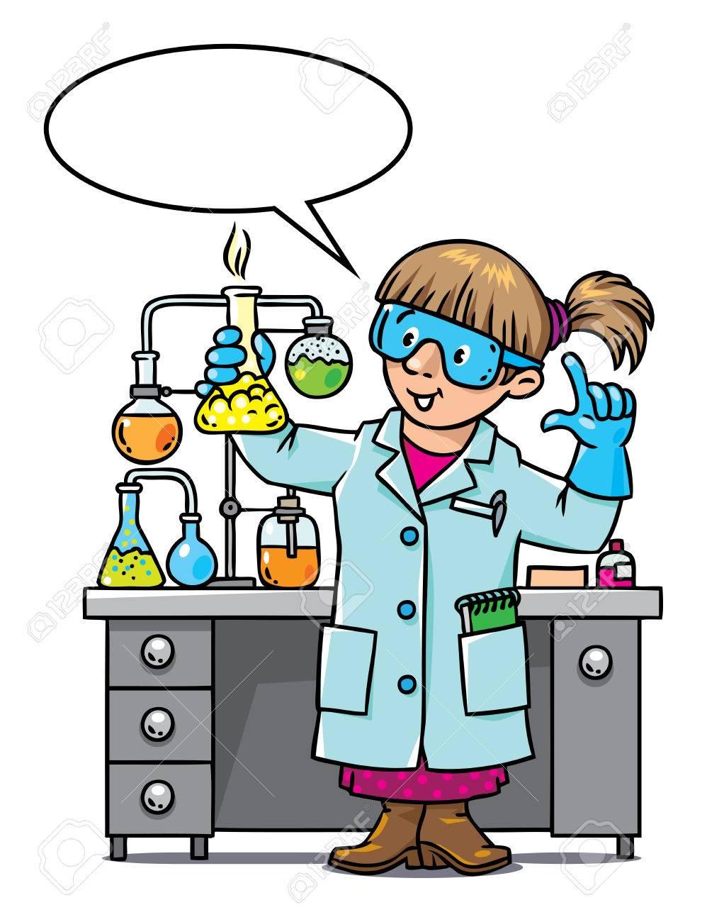 子供はベクトル面白い化学者や科学者のイラストですメガネの女性は白衣