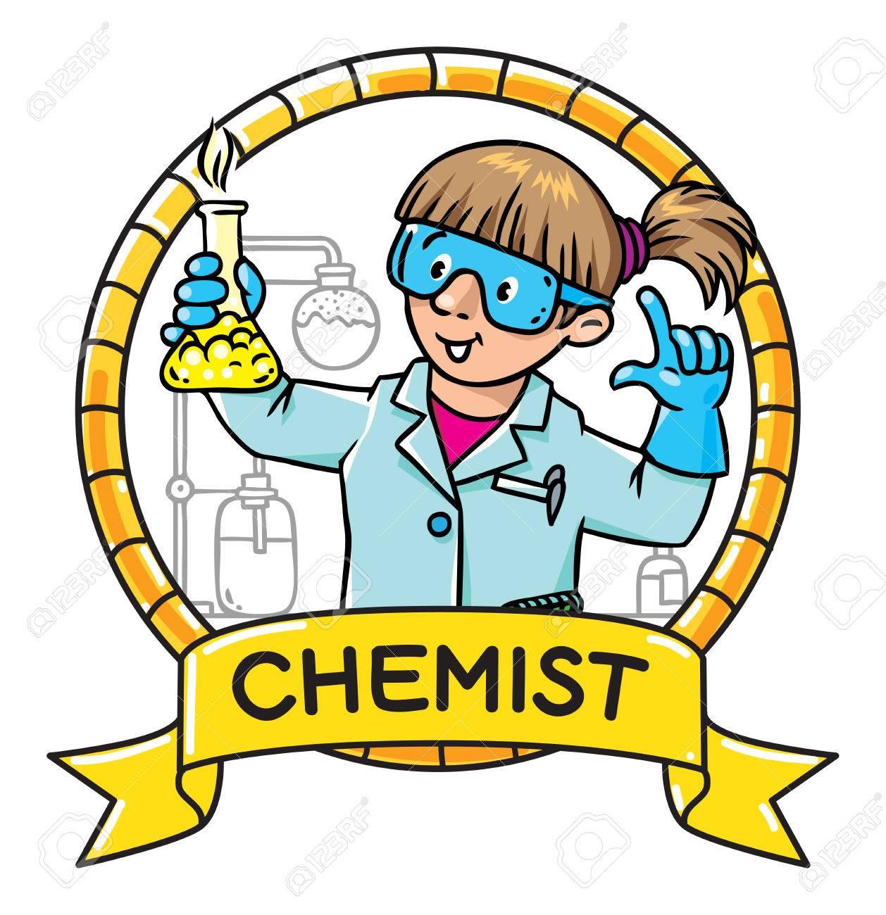 子供のベクトル イラストや面白い化学者や科学者の紋章メガネの女性は