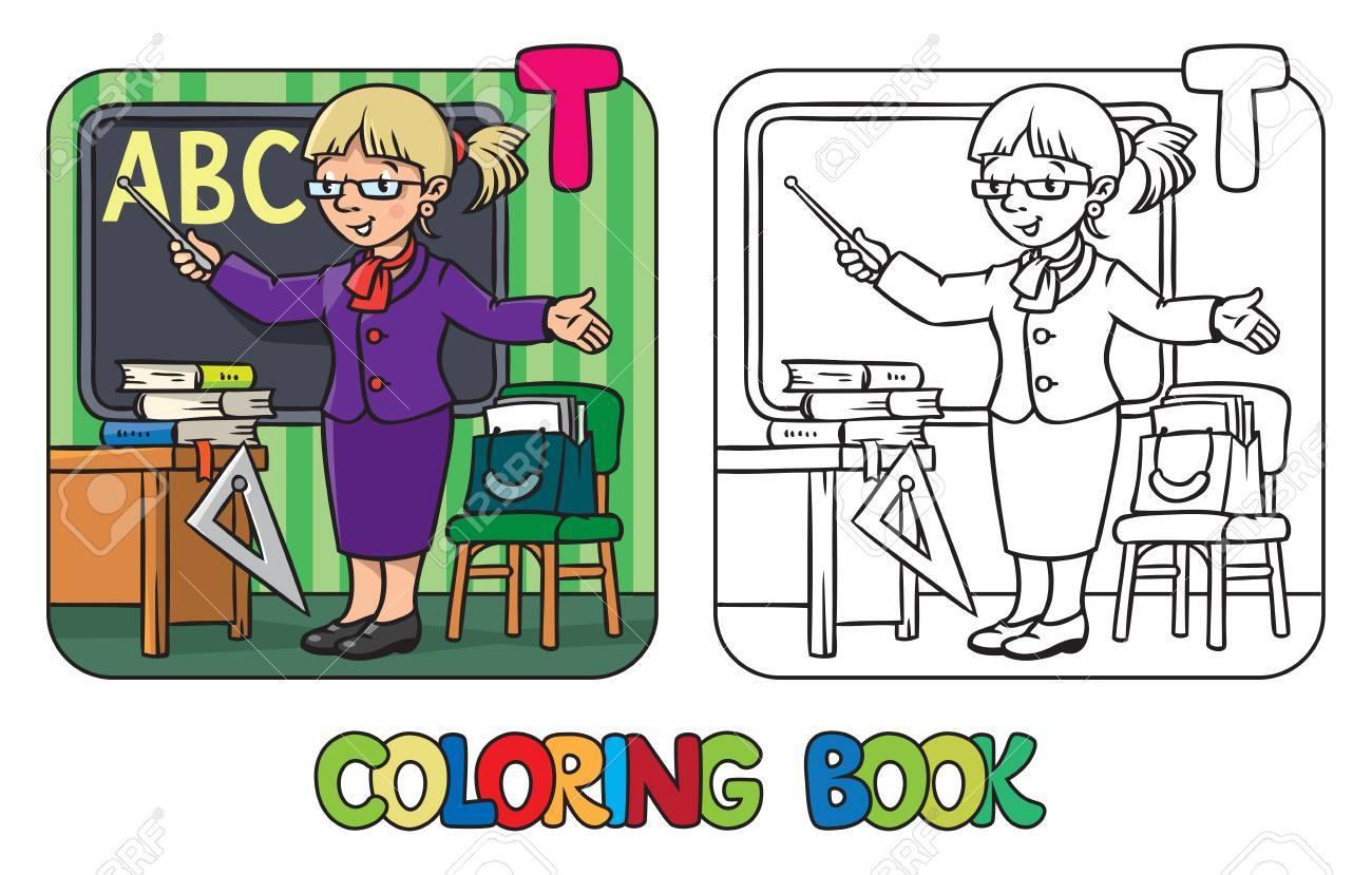 Ausmalbild Oder Malbuch Der Lustigen Lehrer Mit Dem Zeiger In Der