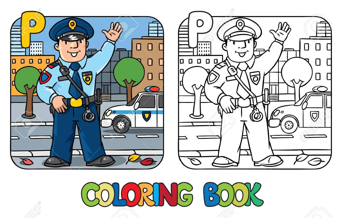 Coloring Bild Oder Ein Buch Von Lustigen Polizist In Uniform Färbt ...
