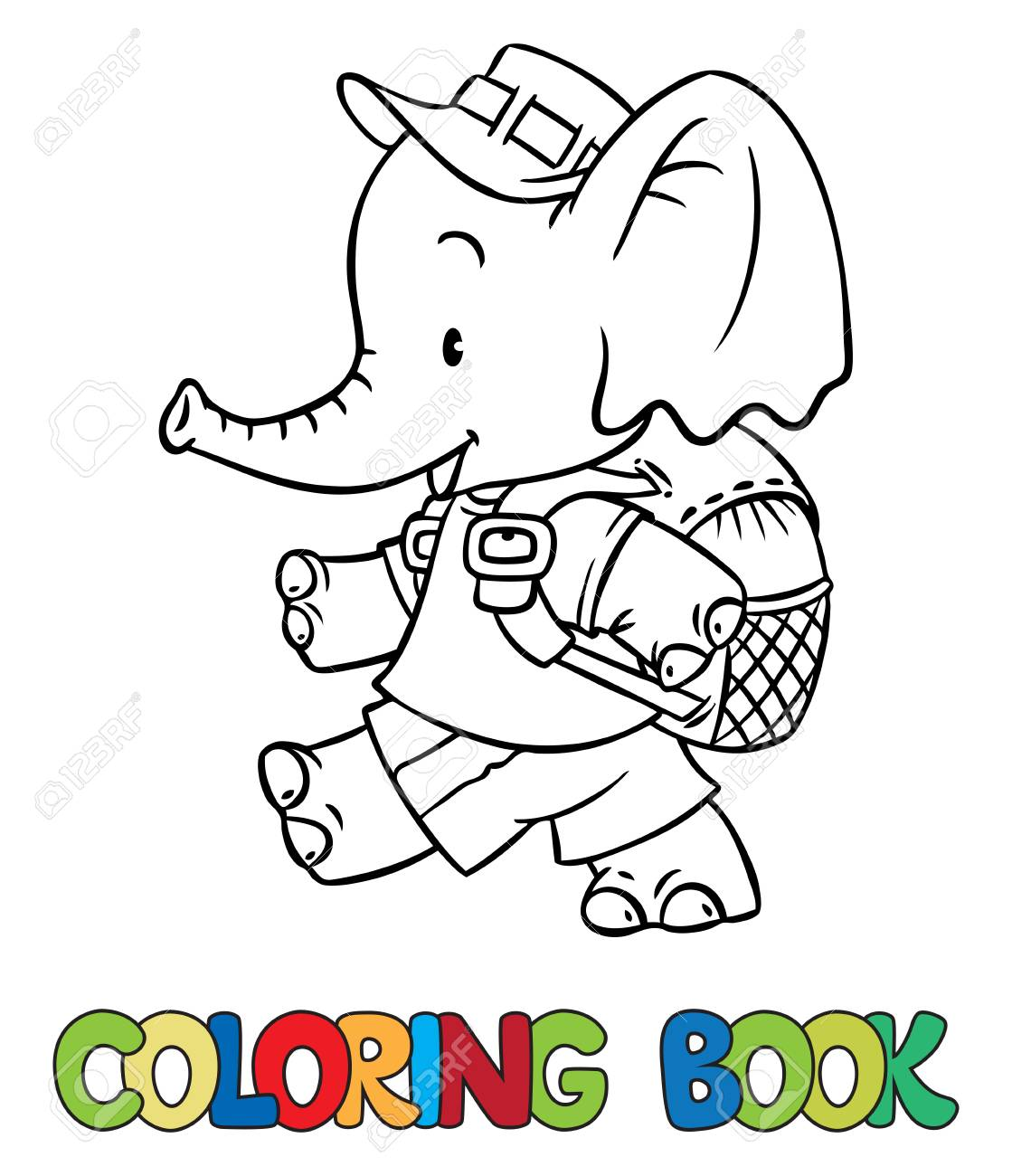 Coloring Book Of Funny Little Funny Baby Elephant With Backpack ...