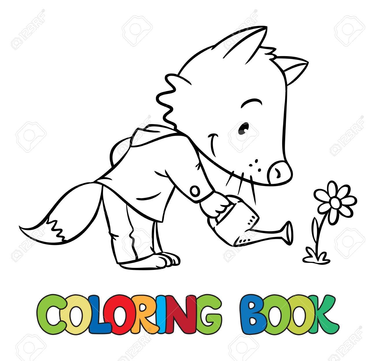 Coloriage Bebe Fleurs.Coloriage Livre Drole Petit Bebe Renard Avec Arrosoir Et De Fleurs