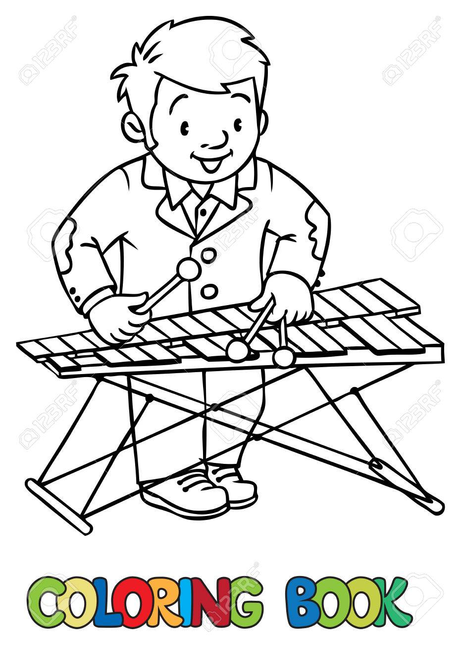 Funny Musician Or Xylophone Player Coloring Book Stock Vector