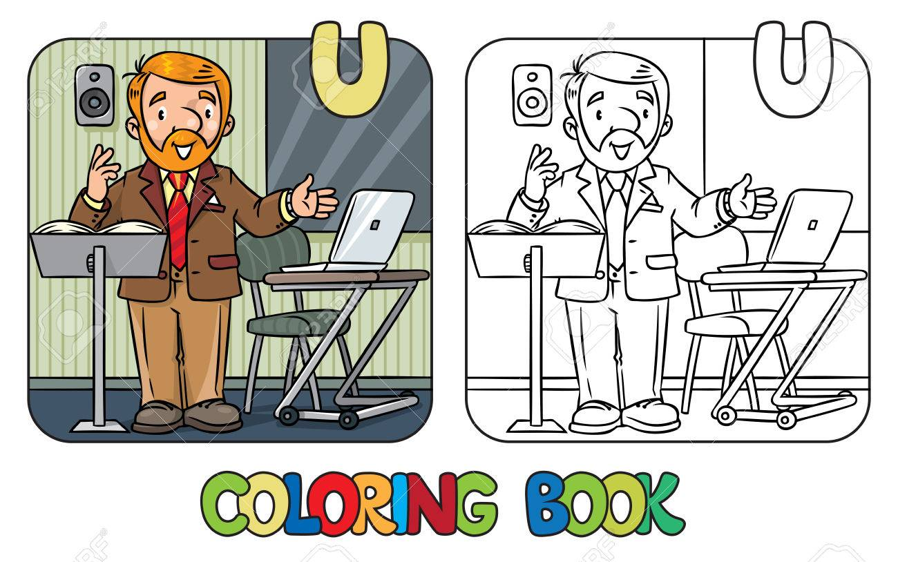 Funny University Lecturer. Coloring Book Royalty Free Cliparts ...