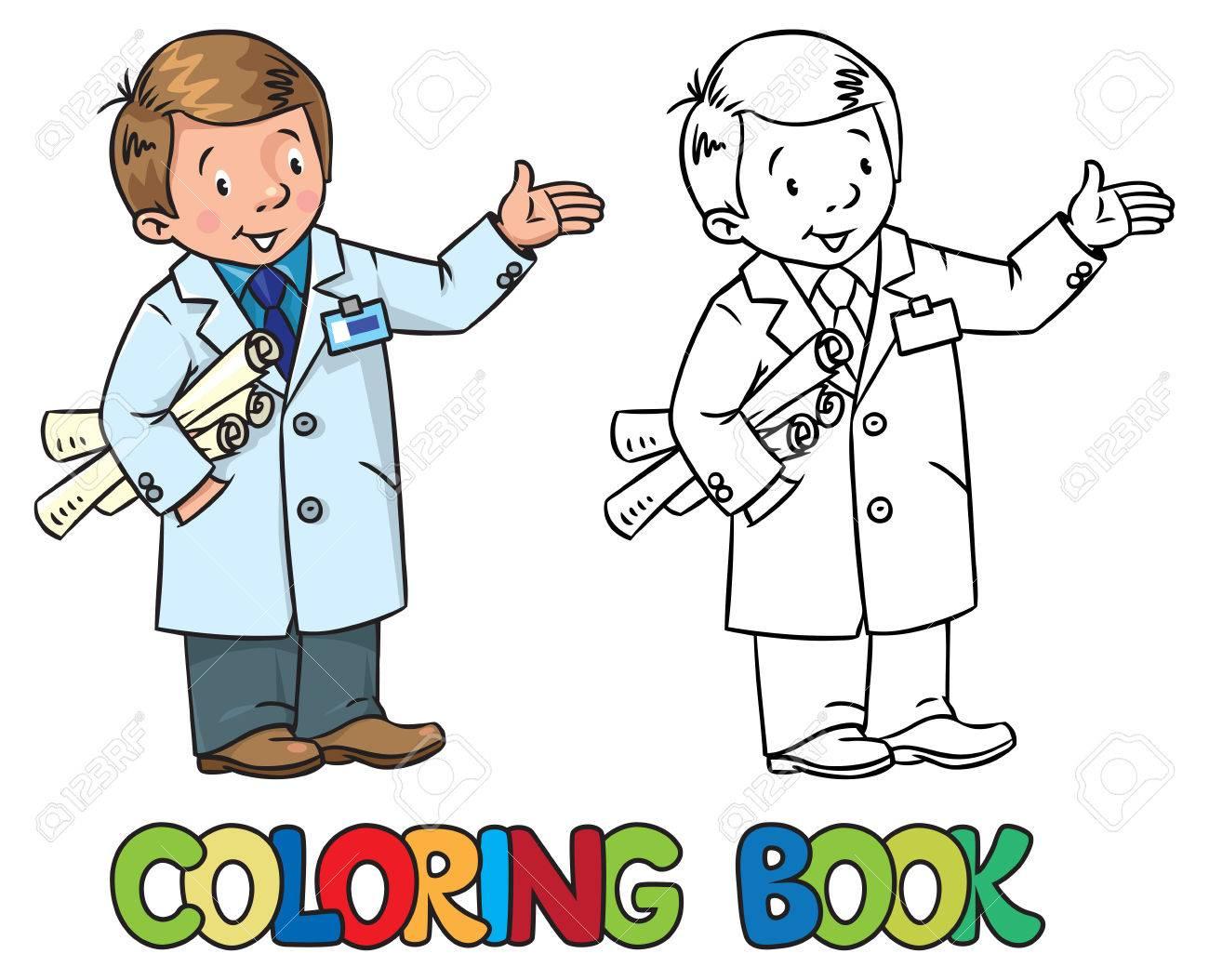 Ingeniero Libro Para Colorear. Serie De ABC Profesión Ilustraciones ...