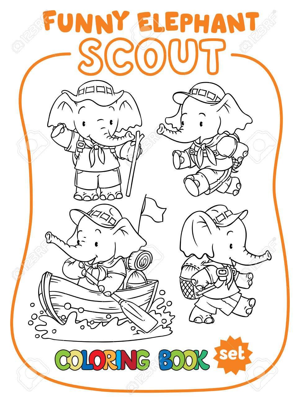 Coloriage Bebe Elephant.Petit Bebe Elephant Scout Ensemble De Coloriage Clip Art Libres De