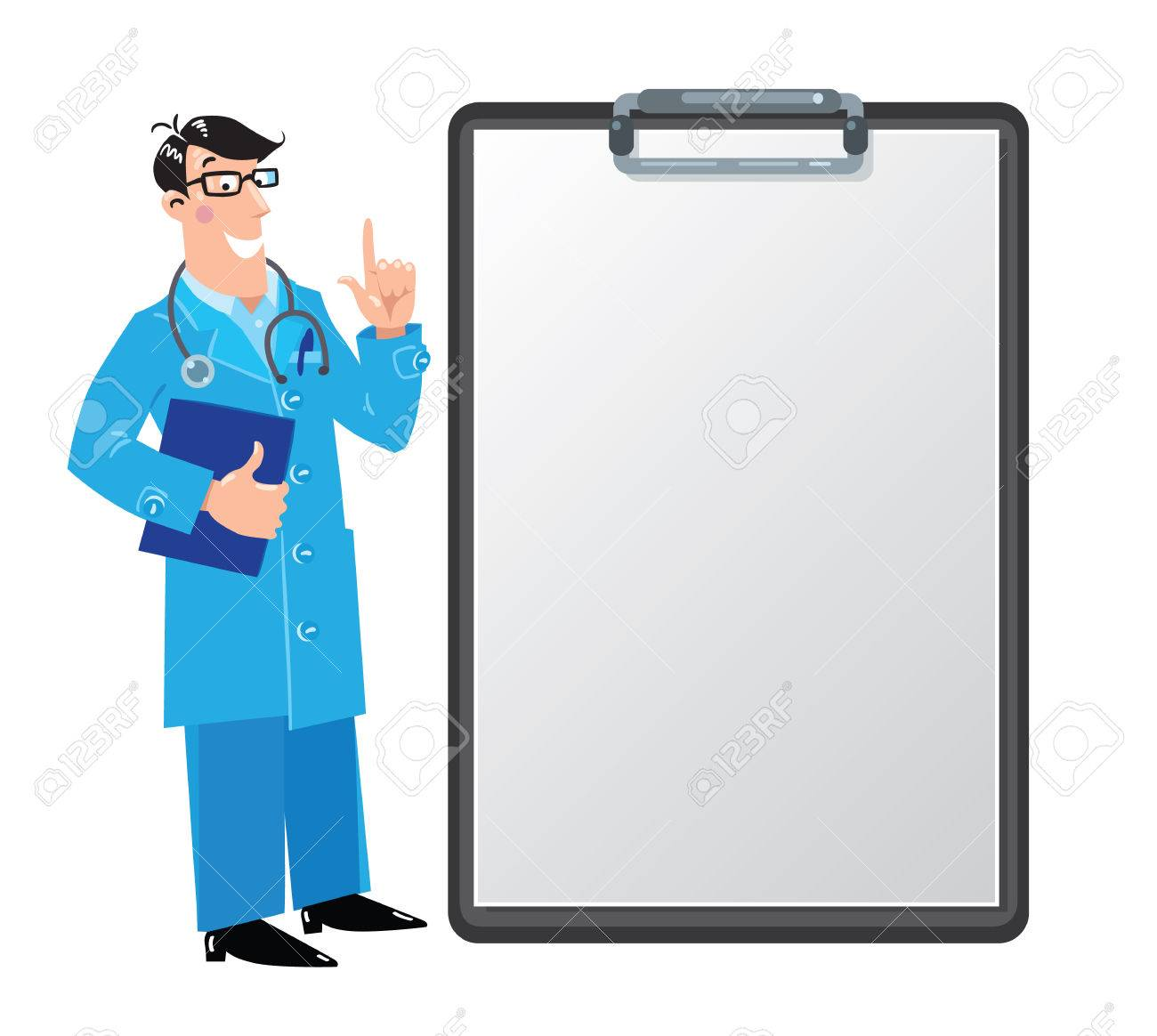 funny doctor with clipboard design template royalty free cliparts