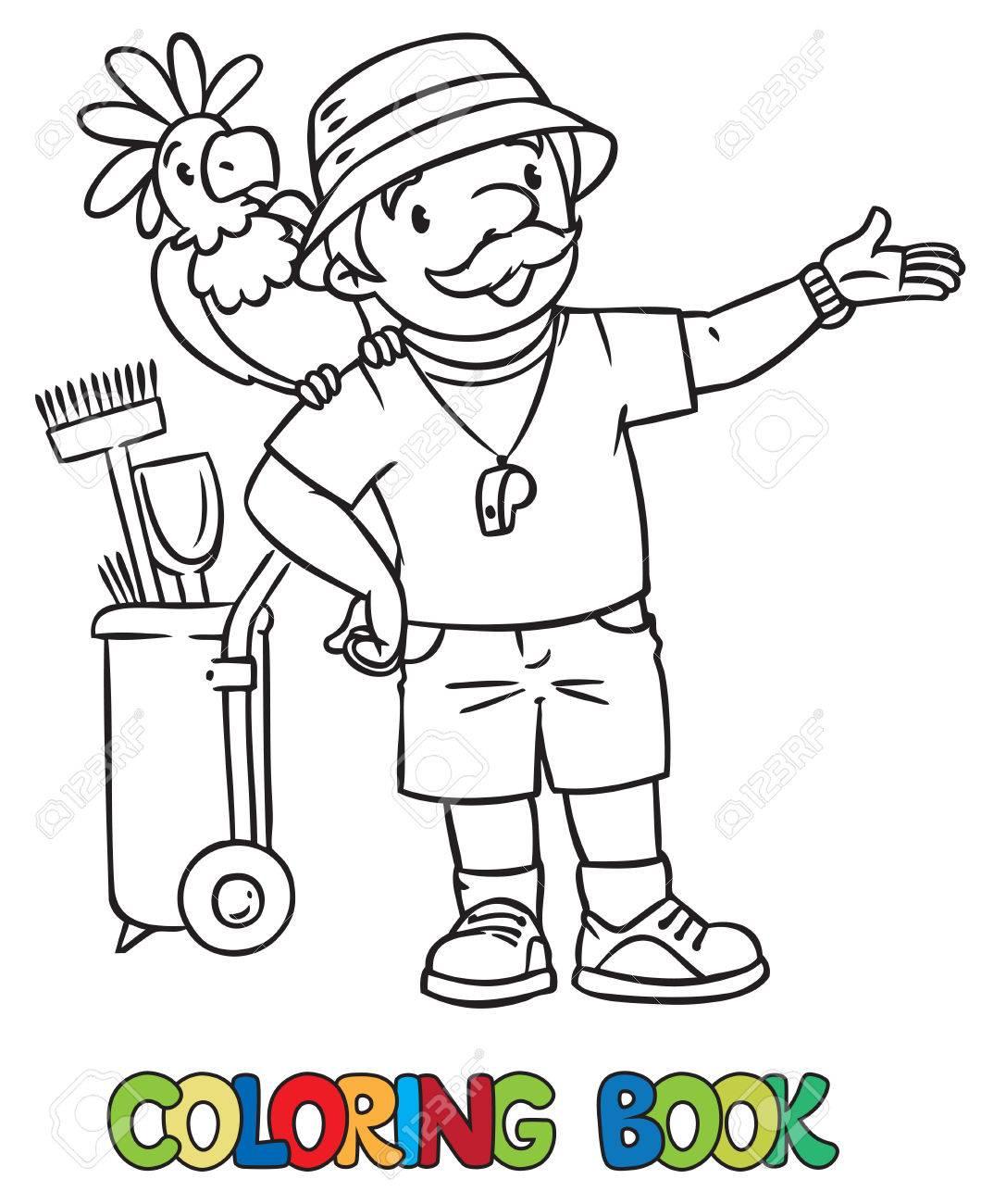 Libro Para Colorear Del Guardián Del Zoológico Divertido Un Hombre Vestido Con Sombrero Panamá Camiseta Y Pantalones Cortos Con Loro Y El Carrito