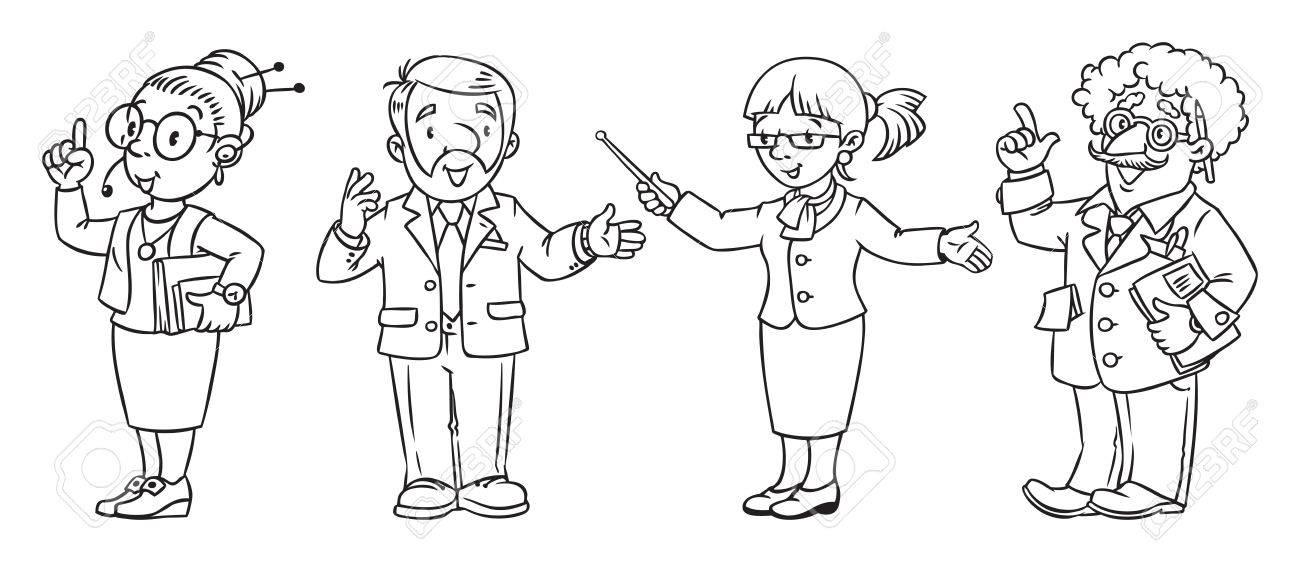 Libro Para Colorear Profesiones De Educación. Ilustraciones ...