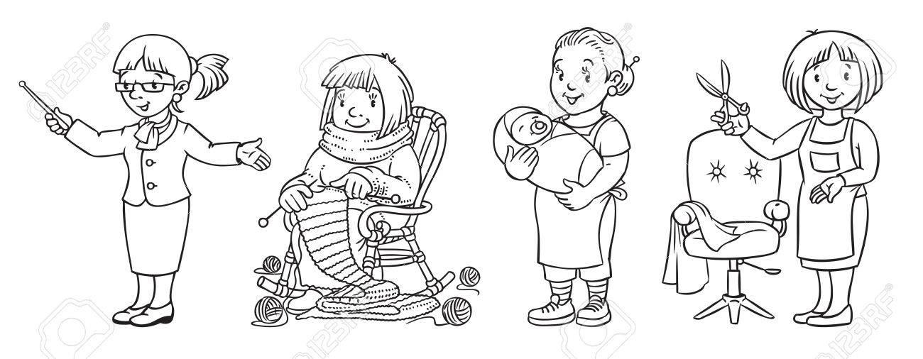 Libro Para Colorear De La Profesión De Womans Ilustraciones ...