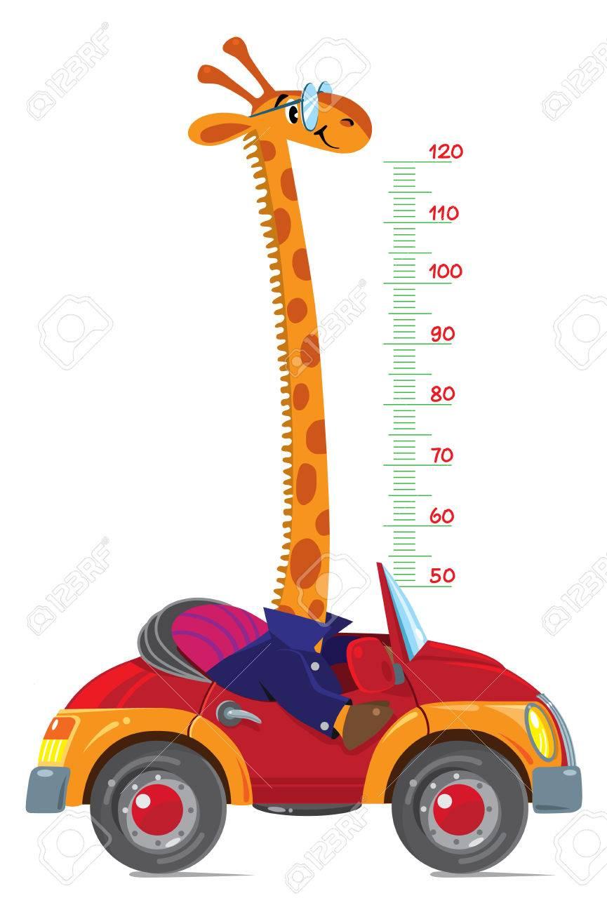 Giraffe Auf Dem Auto. Meter Wand Oder Höhe Diagramm Lizenzfrei ...