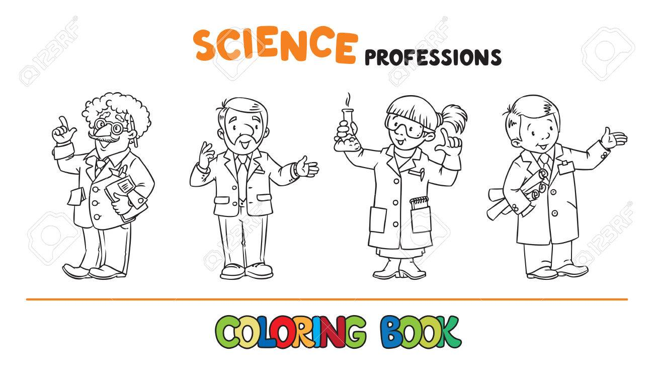 Science Professions Coloring Book Set Royalty Free Cliparts, Vectors ...