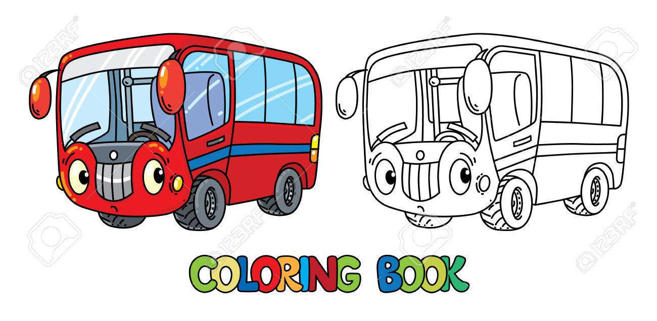 目に変な小さいバス塗り絵のイラスト素材ベクタ Image 84984695