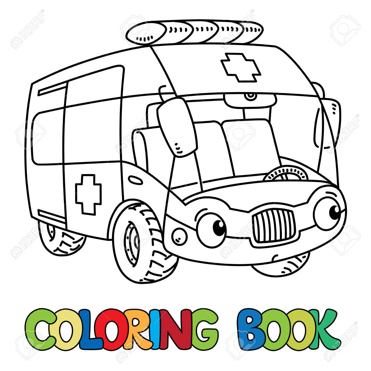 - Ambulance Car Coloring Book For Kids. Small Funny Vector Cute