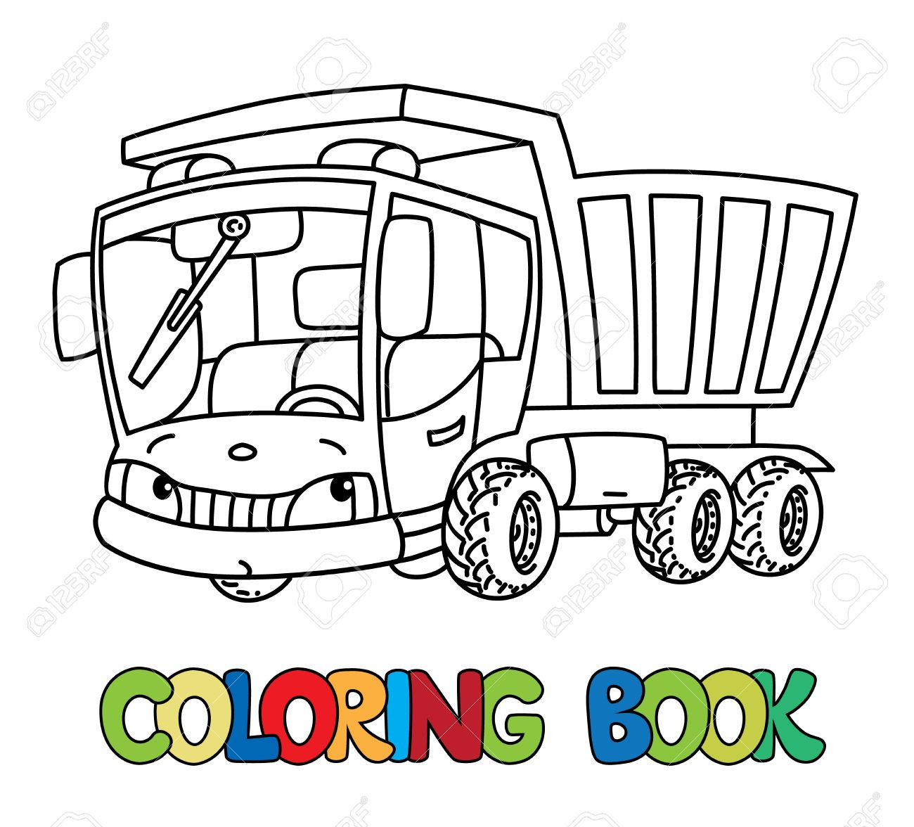 dump truck or lorry coloring book for kids small funny vector
