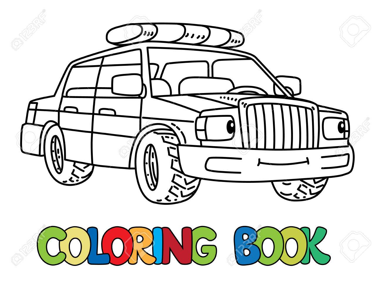 警察の車は子供のための塗り絵目と口の中で小さな面白いベクトル