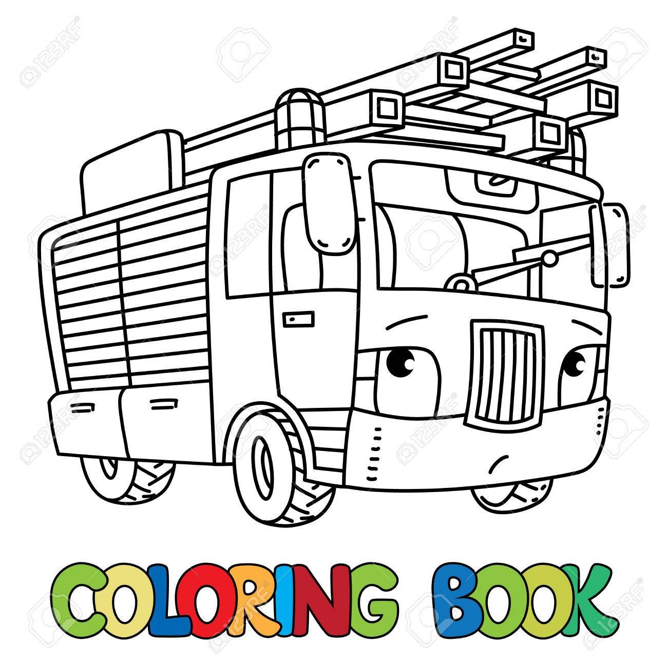 消防車やと Firemachine 目の塗り絵のイラスト素材ベクタ Image