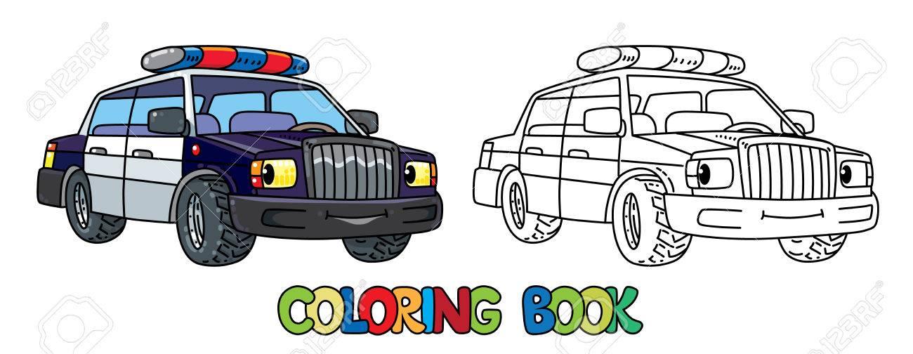Petite Voiture De Police Drole Aux Yeux Livre De Coloriage Clip Art Libres De Droits Vecteurs Et Illustration Image 86261647