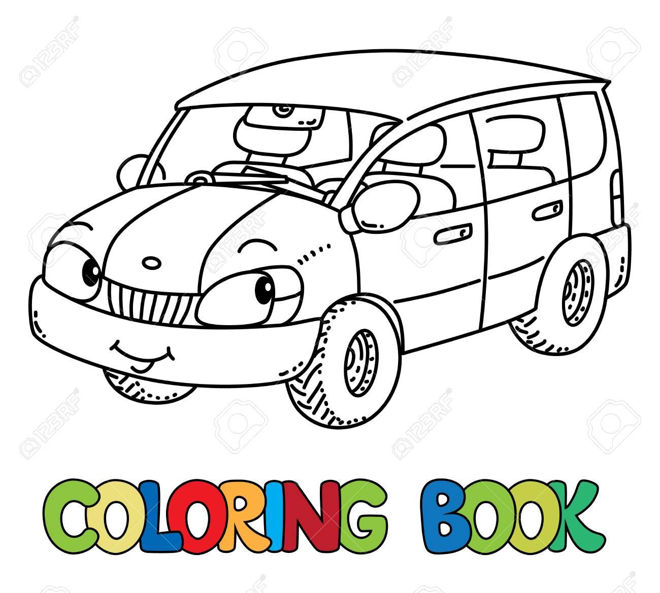 目で変な小さな車塗り絵のイラスト素材ベクタ Image 86895000