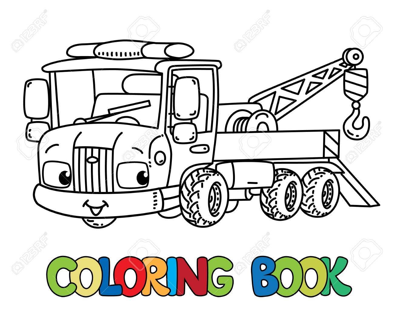 Divertido Pequeño Camión De Remolque Con Ojos Para Colorear Libro ...