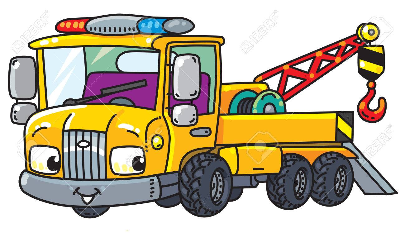 funny small tow truck with eyes royalty free cliparts vectors and rh 123rf com Tow Truck Towing Clip Art tow truck graphics vector