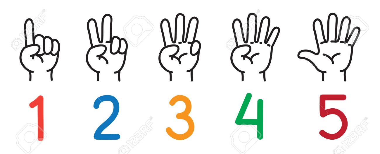 Hands With Fingers. Icon Set For Counting Education. Royalty Free ...