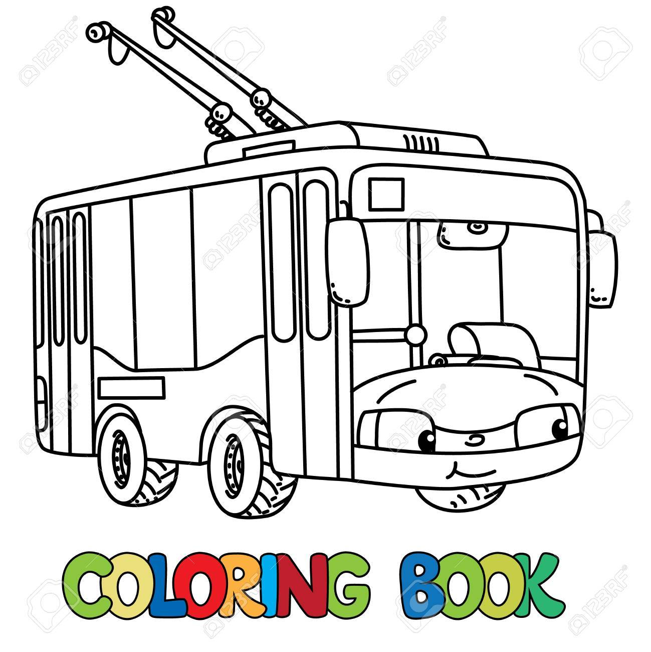 Trolley Or Trolleybus Coloring Book For Kids. Small Funny Vector ...