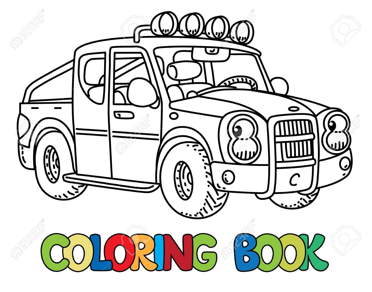 Pickup truck coloring book for kids. Small funny vector cute..