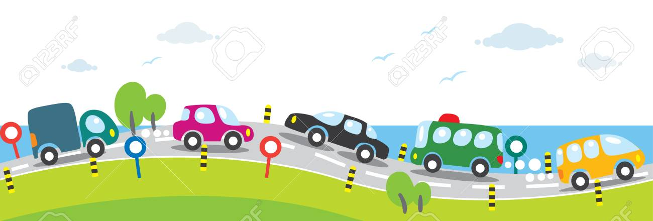 Horizontal Seamless Background Of Cars On The Road Royalty Free