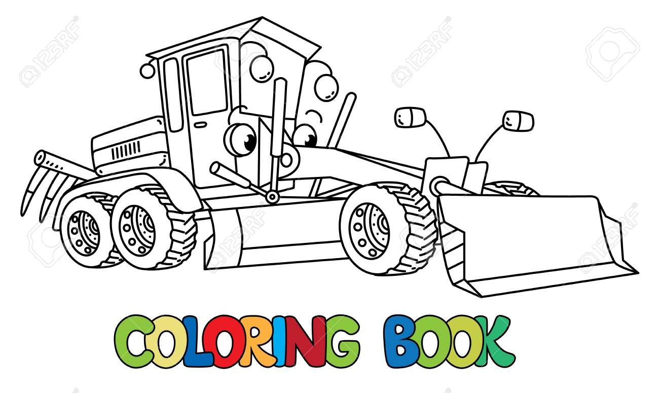 Funny Small Grader Car With Eyes Coloring Book Royalty Free