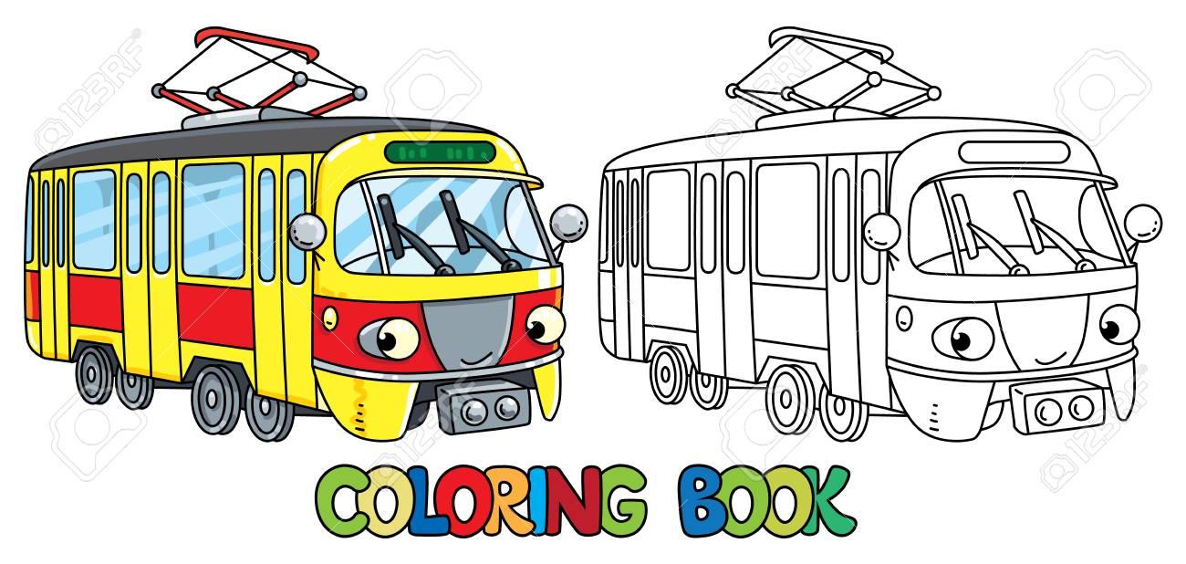 目で面白い小さな路面電車塗り絵のイラスト素材ベクタ Image 89408563