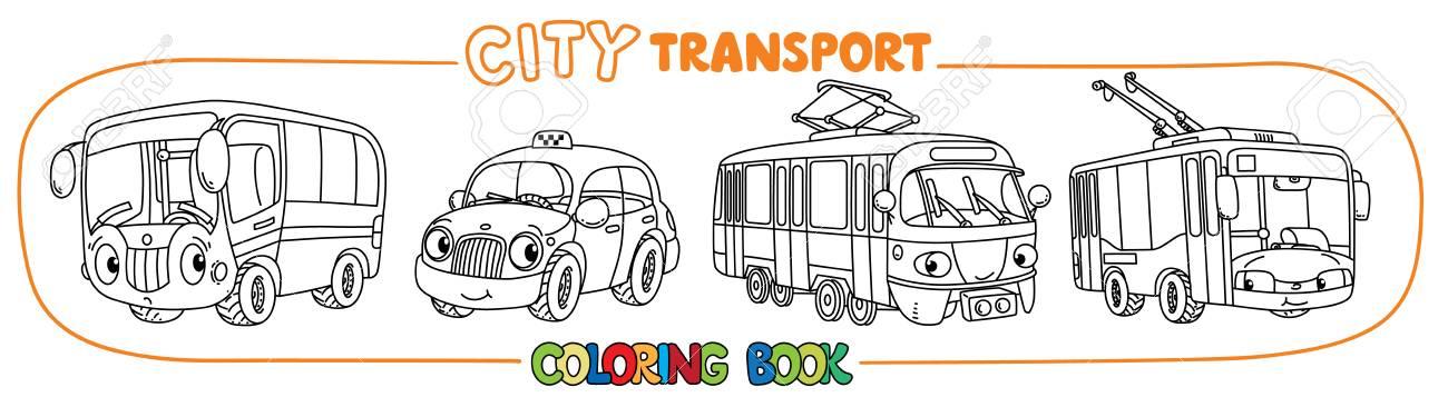 バス路面電車やトロリーバストラムやタクシー小さなおかしいベクトル目と口のかわいい車ですセット子供のための塗り絵子供のベクトル イラスト