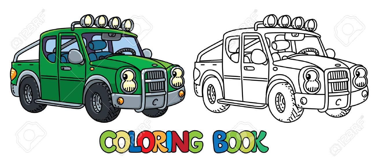 Coloriage Camionnette.Drole Petite Camionnette Avec Des Yeux Livre De Coloriage Clip Art