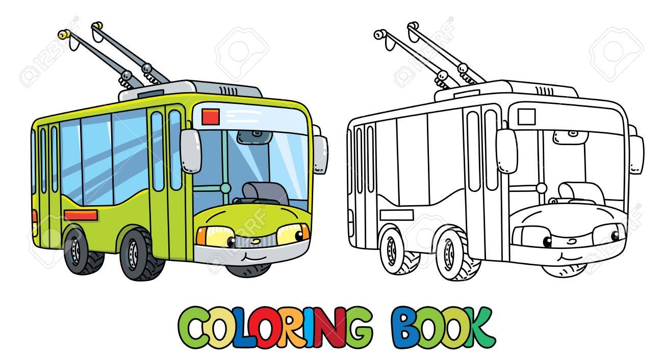 Trolley O Trolleybus Para Colorear Para Niños. Pequeño Coche Lindo ...