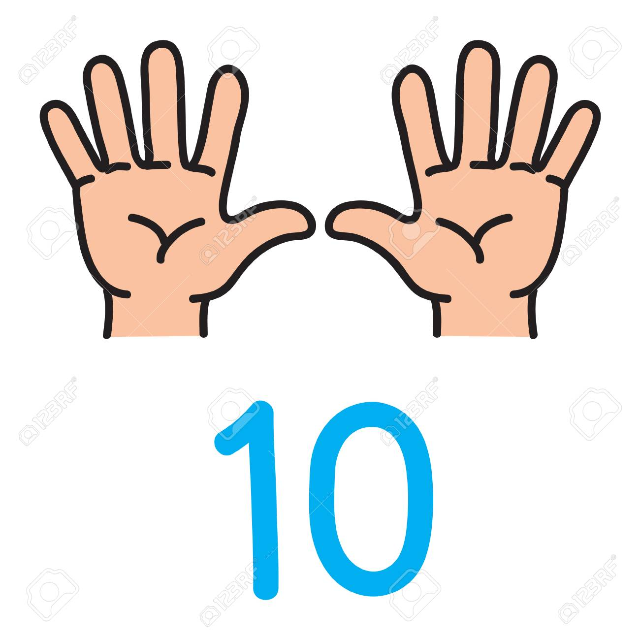 Kids hand showing the number ten hand sign. - 90922735