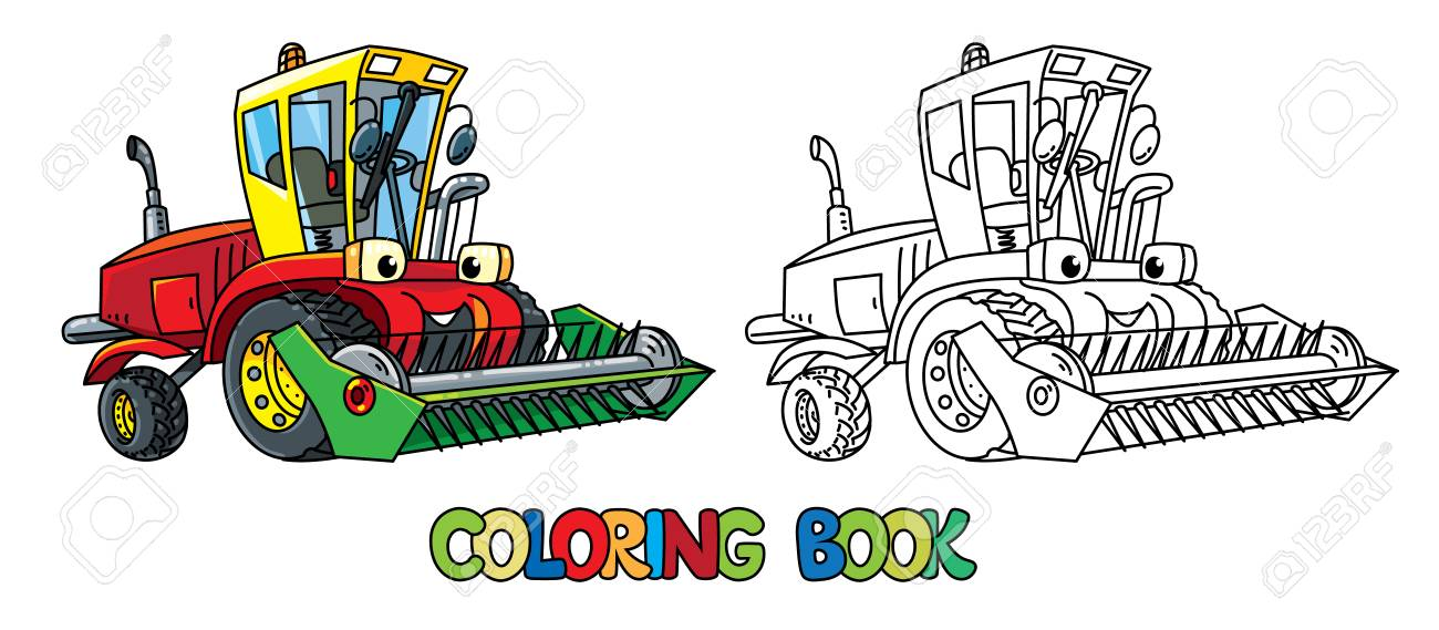 Truck Harvester Or Lawn Mower Coloring Book For Kids. Small Funny ...
