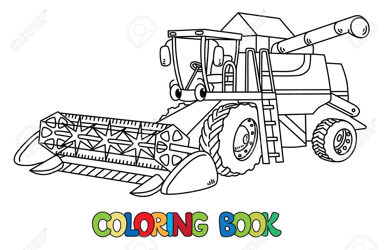 Libro De Colorear De Cosechadora Combinada Para Niños. Pequeño Coche ...