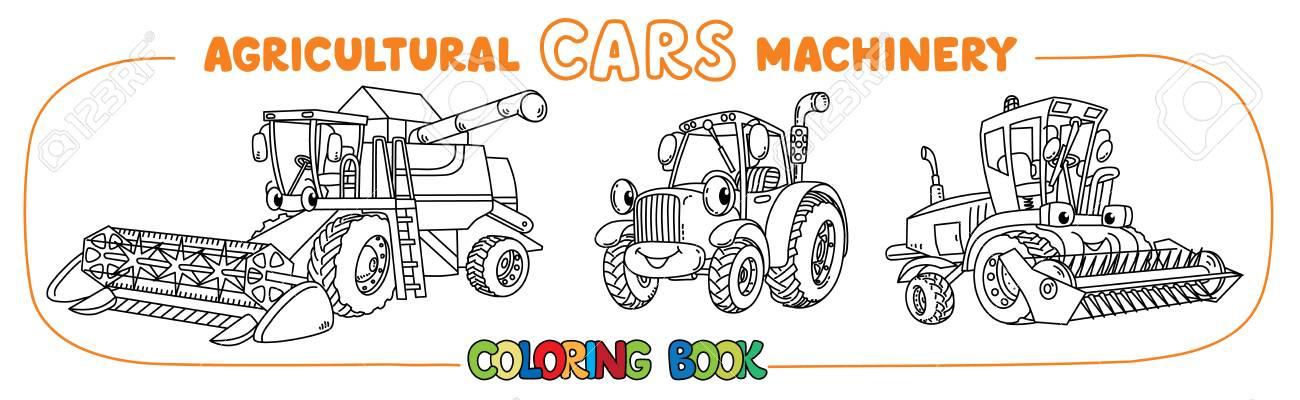 Combine Colheitadeira Cortador De Grama E Trator Livro De Colorir