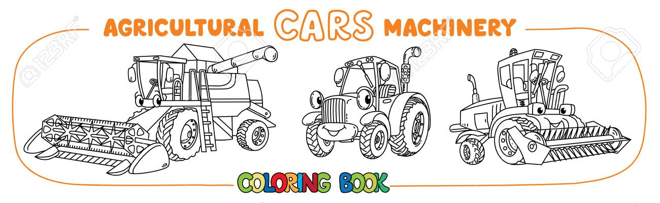 Combine Harvester, Lawn Mower And Tractor Coloring Book For Kids ...