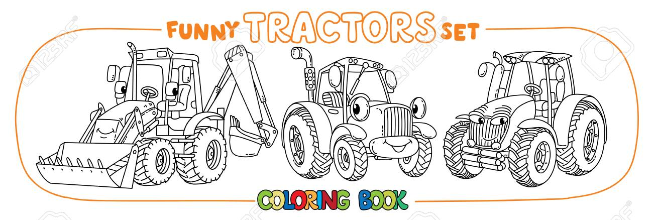 Tractor coloring book set for kids. Small funny vector cute cars..